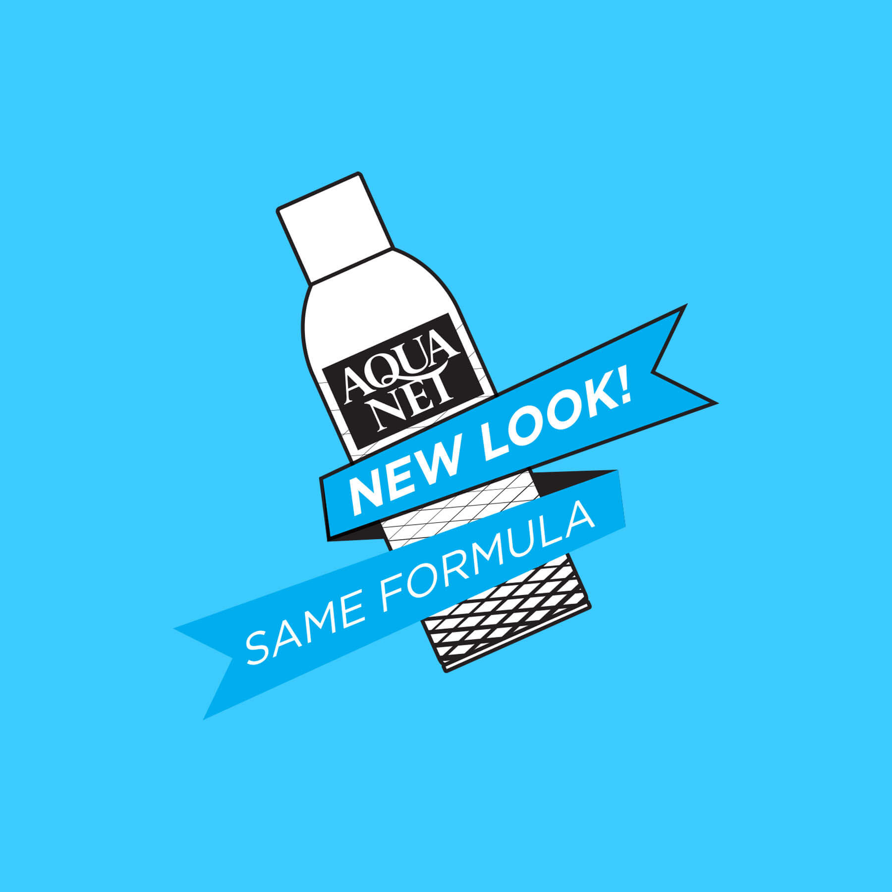 Aqua Net New Look Badge