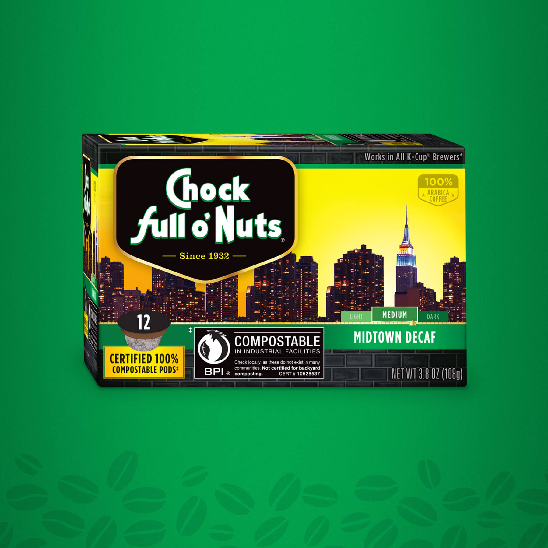 Chock full o' Nuts Midtown Decaf Package Design
