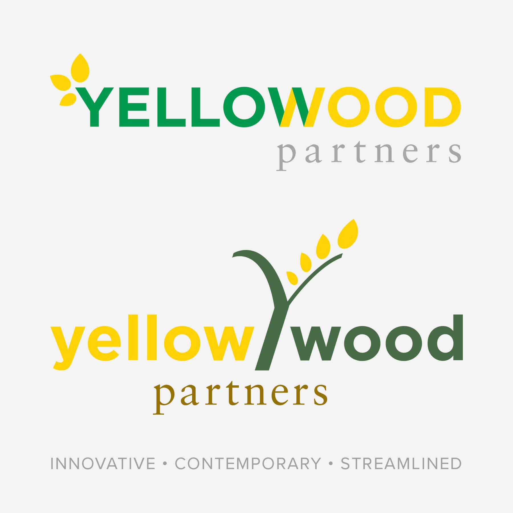 Yellow Wood Partners Sans Serif Font Logo Options