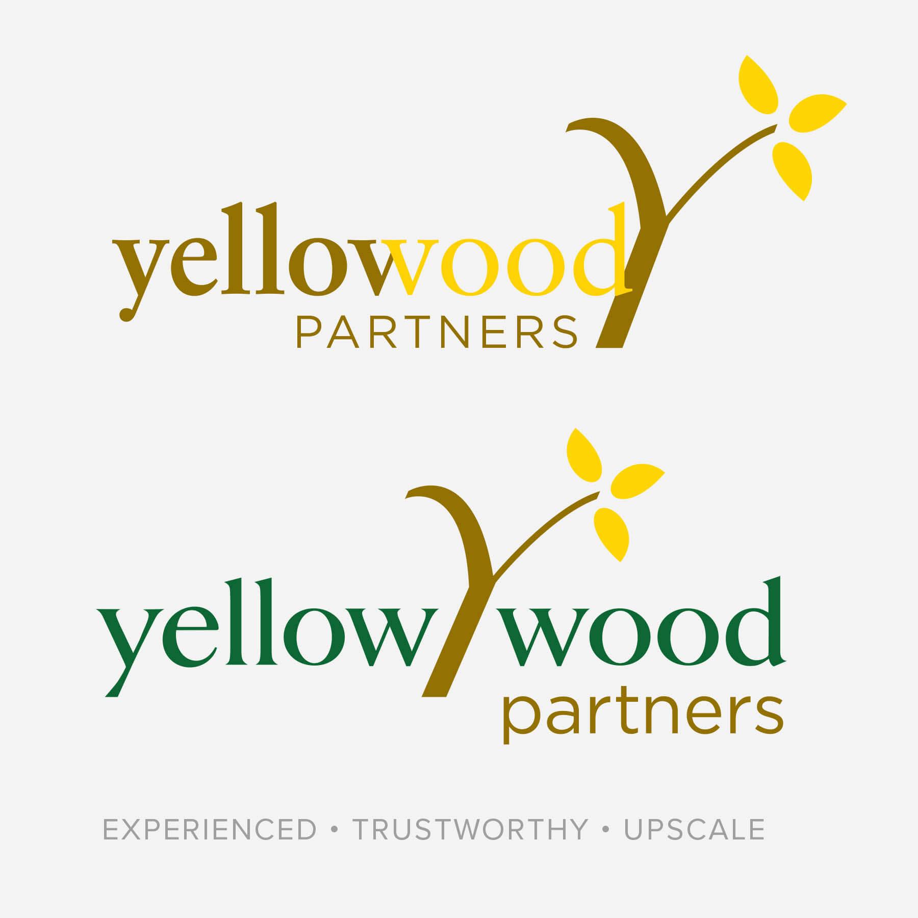 Yellow Wood Partners Serif Font Logo Options